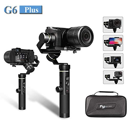 Feiyu G6 Plus 3-Axis Splash-Proof Handheld Gimbal Stabilizer (G6 Upgrade Ver 2018) for Gopro,Yi Cam 4K,Sony Rx0,iPhone X 8 7 Plus,Samsung S9 S8,Mirrorless Pocket Cameras 800g Payload,12H Running Time