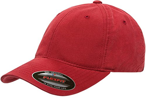 Flexfit Low-profile Soft-structured Garment Washed Cap (Red, Large/X-Large)