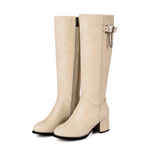 AllhqFashion Womens Round Closed Toe Kitten Heels Mid-Top Solid Boots Beige ssGKa