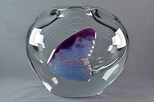 Daum Crystal Pate de Verre Purple Fish Oval Vase - Oval Pate
