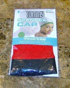 TOMMY RED w/BLACK TRIM SPANDEX CAP DU DOO RAG SKULL CAP DU RAGS SKULL CAPS