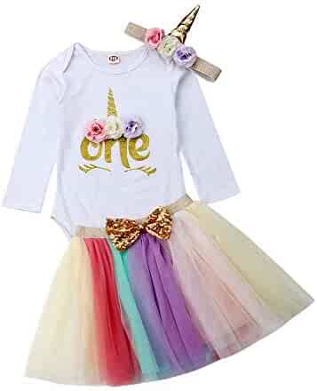 e183697f339 3Pcs Unicorn 1st Birthday Girl Outfit Newborn Baby One Romper Bodysuit Tops+Tutu  Skirt Dress