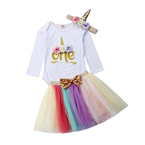 3Pcs Unicorn 1st Birthday Girl Outfit Newborn Baby One Romper Bodysuit Tops+Tutu Skirt Sets Dress with Headbands (Long Sleeve 6-12 Months) ()