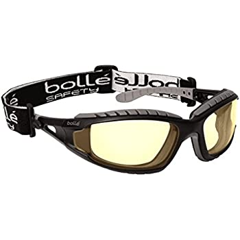 Bolle Safety 253-TR-40087 Tracker Safety Eyewear with Black/Gray Polycarbonate TPE Full Frame and Yellow Lens