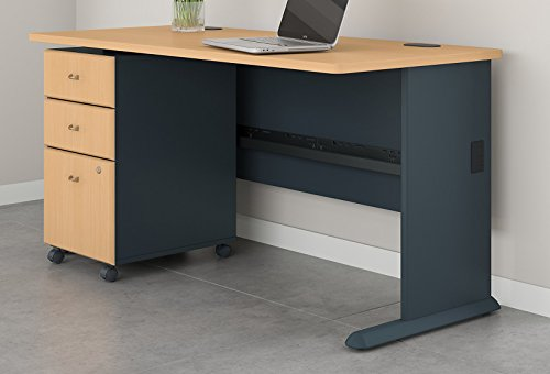 Bush Business Furniture Series A 60W Desk with Mobile File Cabinet in Beech and Slate