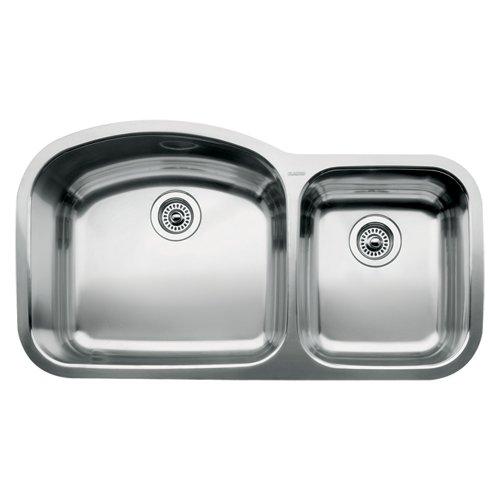 1.75 Medium Double Bowl - Blanco 510-882 Wave 1 3/4 Double Bowl Undermount Kitchen Sink, Satin Polished Finish