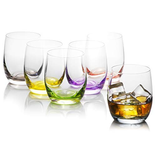 Rainbow Assorted Colors Drinking Glass Set (6 pack), Mixed Vibrant & Colorful, Crystal, 100% Lead-Free - European Premium Tumblers & Drinkware, 10 - Glass Mixed Color