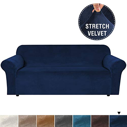 """Real Soft Rich Velvet Plush Sofa Cover Slipcover Thick Velvet Stretch Couch Cover for 3 Cushion Sofa High Stretch Sofa Slipcover Stylish Furniture Cover Machine Washable - Sofa 72""""-96"""" - Navy"""