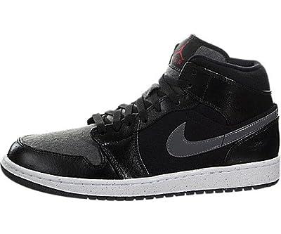 NIKE Air Jordan 1 Mid Premium Mens Basketball Shoes (10.5 D(M) US),Black / Gym Red-dark Grey-white