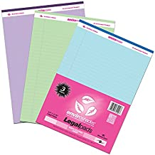 "Roaring Spring 74100 Enviroshades Legal Pad, Recycled, 8-1/2"" x 11"" Size, Assorted Colors"