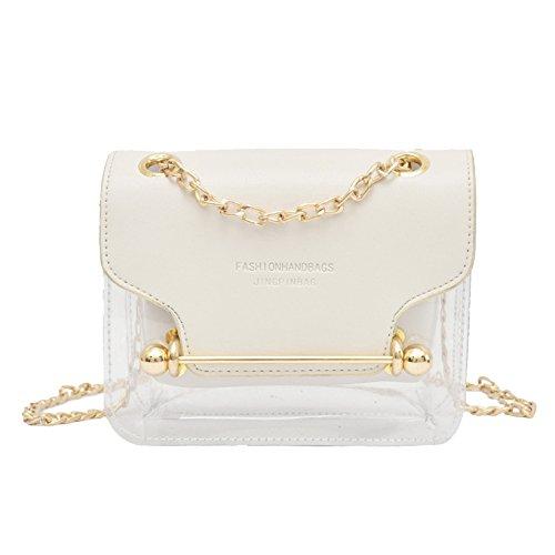 MERRYHE Señoras Mini Bolsos De Hombro De Cuero De La PU Pequeños Conjuntos Jelly Bags Metal Messenger Messenger Bag White