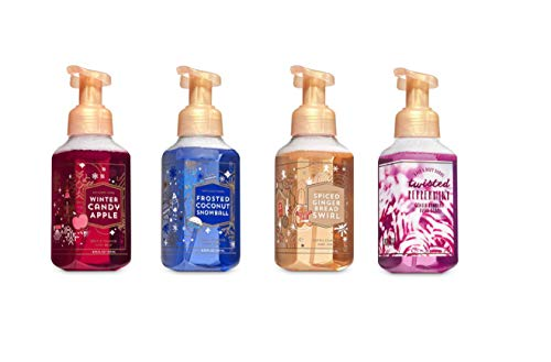 Bath and Body Works Holiday Collection 2018 Foaming Hand Soap 4 Pack Winter Candy Apple, Frosted Coconut Snowball, Spiced Gingerbread Swirl, and Twisted Peppermint
