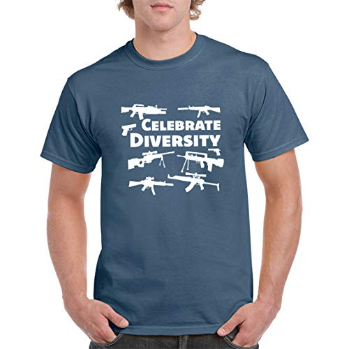 Funny Celebrate Diversity Pro Gun T-Shirt 2nd Amendment Bullets, AR15 Gun Rights Video Gamer Humor Joke for Men Women T-Shirt (Indigo Blue, M)