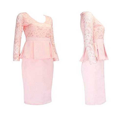 Jubileens Women's Long Sleeve Peplum Lace Splicing Wear To Work Pencil Dress (L, Pink)