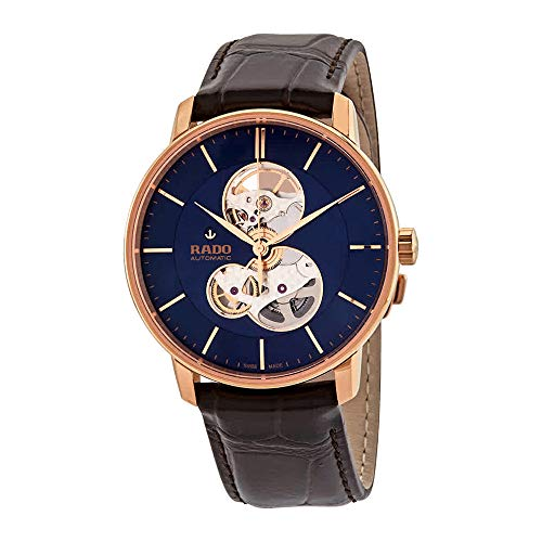 Rado Coupole Classic Open Heart Automatic Blue Dial Men's Leather Watch R22895215 (Leather Men Rado Watch)