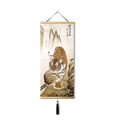 - EAPEY Silk Chinese painting wall painting home decoration painting,Beautiful Tiger , Wall Mount Decorative Painting Painting Posters Mural Painting (35X80CM)