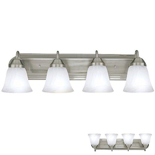 Likimen Brushed Nickel Four Globe Bathroom Vanity Light Bar Bath Fixture Alabaster Glass ...