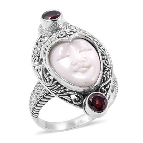 Designer Carved Ring (925 Sterling Silver Pear Ox Bone, Garnet Ring Size 8)