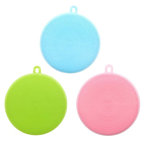 Autumn Water Fruit Vegetable Food Grade Silicone Dishwashing Sponge Brush Antibacterial Kitchen Cleaning Pad Clean Vegetable/Pan Brush Tool by Autumn Water (Image #3)