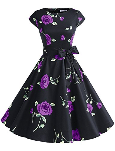 Dressystar DS1956 Women Vintage 1950s Retro Rockabilly Prom Dresses Cap-Sleeve XXL Black Purple Flower (Black Dress Purple)