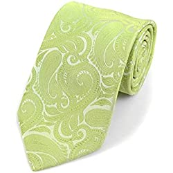 Men's Lime Paisley 100% Microfiber Poly Woven Wedding Neck Tie