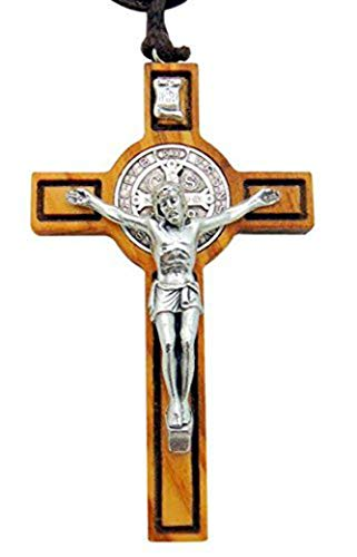 (Saint Benedict Wood & Metal Crucifix Pendant 2 1/2 Inch Long with Rope Necklace Gift Boxed)