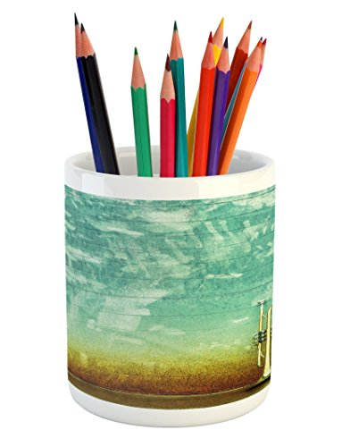 (Ambesonne Music Pencil Pen Holder, Old Aged Worn Single Trumpet Stands Alone Against a Faded Wall Jazz Theme Photo, Printed Ceramic Pencil Pen Holder for Desk Office Accessory, Sea Green Brown)