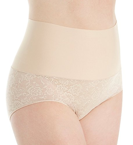 Maidenform Tame Your Tummy Curvy Plus Size Brief Panty (DM0055) 3X/Nude 1 Lace