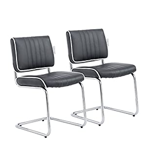 Perfect HOMCOM Set Of 2 Z Shaped Padded Metal Dining Chair Office PU Leather Seat  Seater Chromed Leg Modern Home Furniture (Black) Part 31