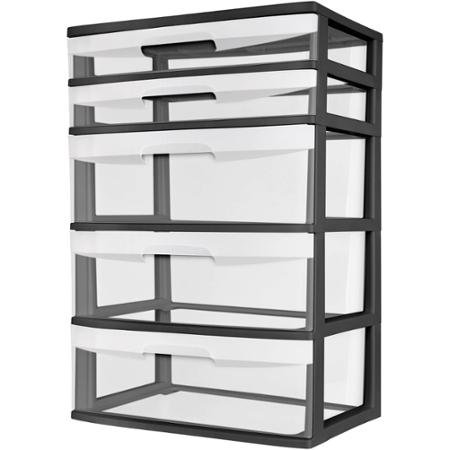 Review Sterilite 5 Drawer Wide Tower- Black By STERILITE by STERILITE