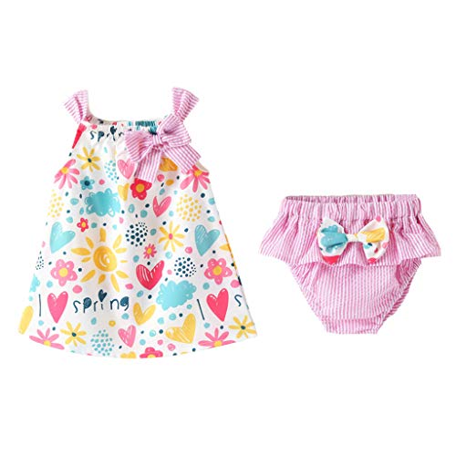 Riverdalin Infant Baby Girls Cartoon Love Print Princess Dress Tops +Bow Striped Print Shorts Outfits Sets (12-18 Months, Pink)