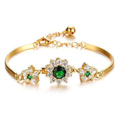 Personalized Princess Cd - Girl Era Princess 18K Gold Emerald Flowers Polished Bangle Bracelet