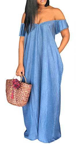 (Kearia Women Denim Dress Off The Shoulder V Neck Short Sleeve Loose Summer Jeans Long Maxi Dress Blue XXLarge)