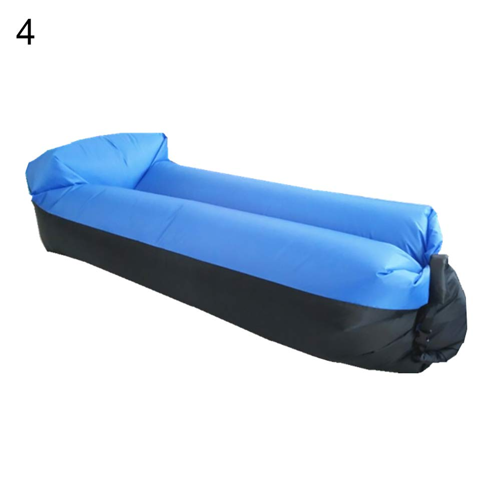 bDSof0u89yw Portable Outdoor Camping Picnic Beach Inflatable Air Sofa Lazy Bed Lounger Chair Comfortable Air Sofa Blow Up Lounge Sofa Carrying Bag Black+Royal Blue