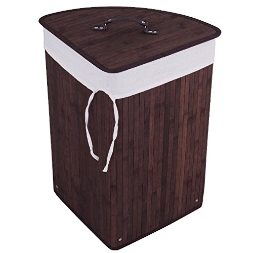 Brown Bamboo Hamper Laundry Basket With Inside Withdrawable Liner Bag Cloth Wash Washing Organizer Bin Storage Bag Lid Home Bedroom Bathroom Spa Room Sufficient Storage Space Beautiful And Functional
