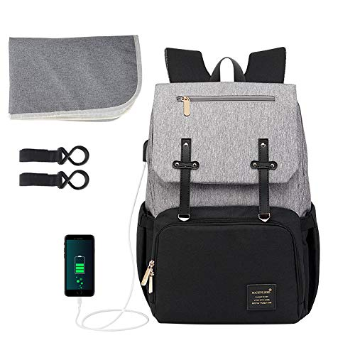 Baby Diaper Bag Backpack, ionlyou Multi-Function Waterproof Diaper Bag Backpack for Mom Built-in USB Charging Port, Baby Bags w/Changing Pad, Pockets,Stroller Straps.