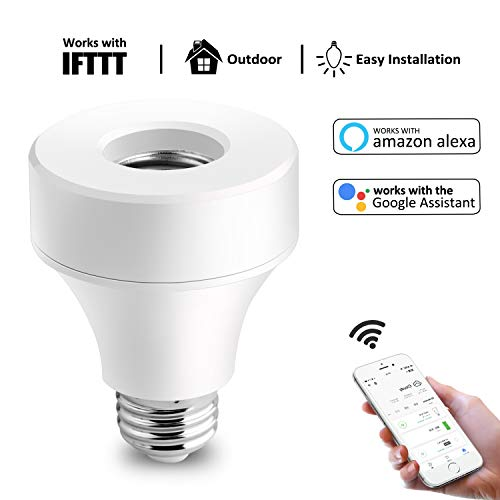 lb Socket, E26 / E27 LED Light Lamp Holder Plug, Bulb Adapter Base Compatible with Alexa and Google Assistant, No Hub Required, Remotely Control, Timing Function (1 Pack) ()