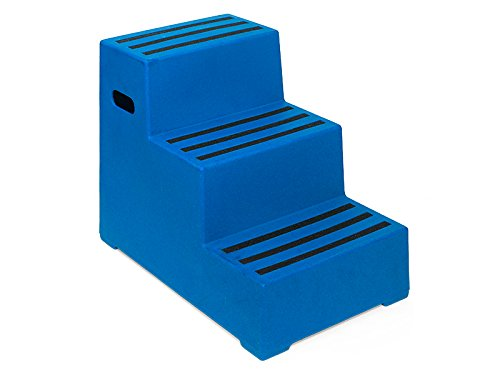 3 Tread Heavy Duty Blue Plastic Moulded Safety Block Steps Premium Step