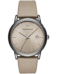 Emporio Armani Mens Dress Quartz Stainless Steel and Leather Casual Watch, Color:Grey (Model: AR11116)
