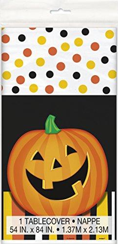 Smiling Pumpkin Halloween Plastic Tablecloth, 84