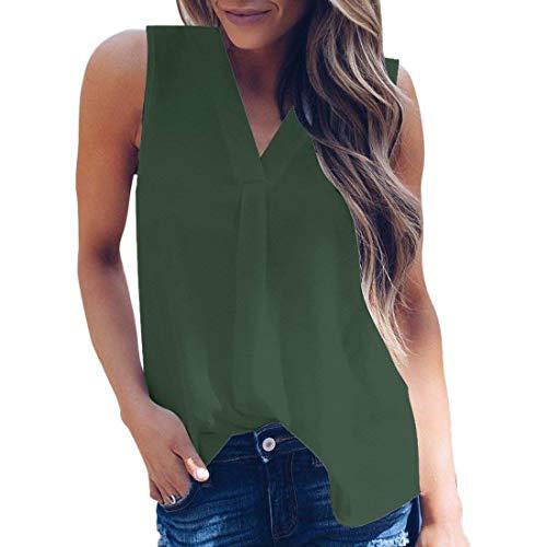 Cou Haut Oversize sans Femme Mousseline Shoulder Uni Baggy Debardeur Elgante Shirts Manches V Vert Et Loisir Manche Legere Fashion Costume Chic Off SR0w5xqp