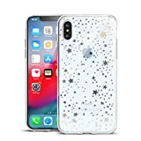 Clouds Compatible iPhone Xs Max Clear Case/iPhone Xs Max Case for Girls Glitter Silver Pattern Soft Flexible Durable Slim TPU Phone Cases for Apple iPhone Xs Max-Star