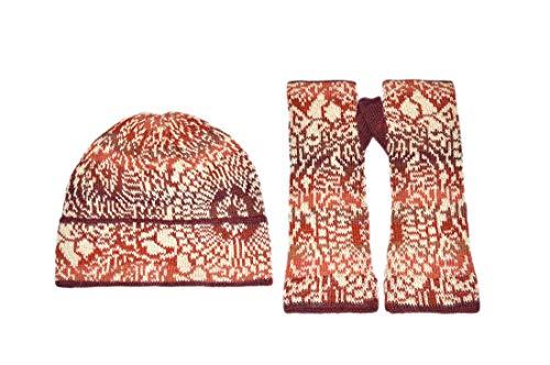 Invisible World Women's Alpaca Wool Glove and Hat Sets Fingerlesss Winter Elba L Set
