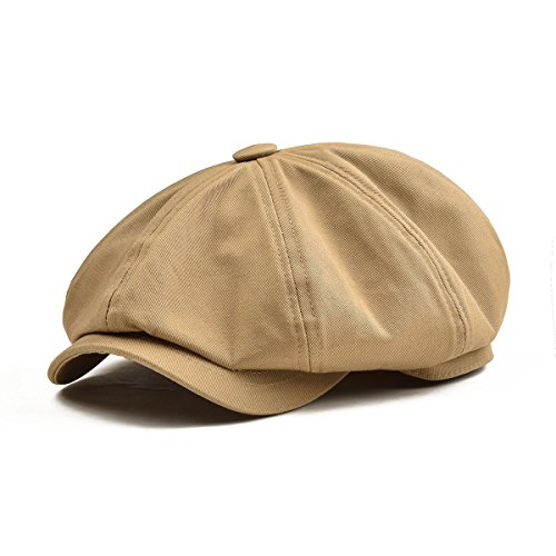 (BOTVELA Men's 8 Piece Newsboy Flat Cap 100% Cotton Gatsby Ivy Golf Cabbie Hat (Khaki, L))