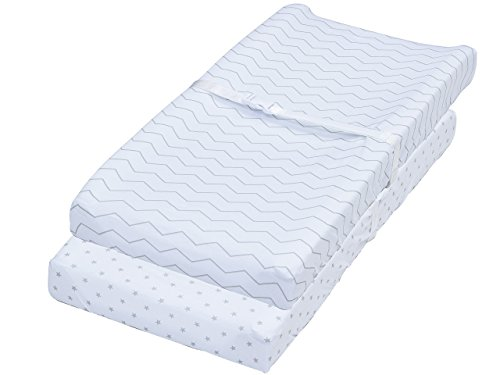 Changing Pad Covers, 2 Pack Chevron & Stars Fitted Soft Jersey Cotton Bedding by Jomolly