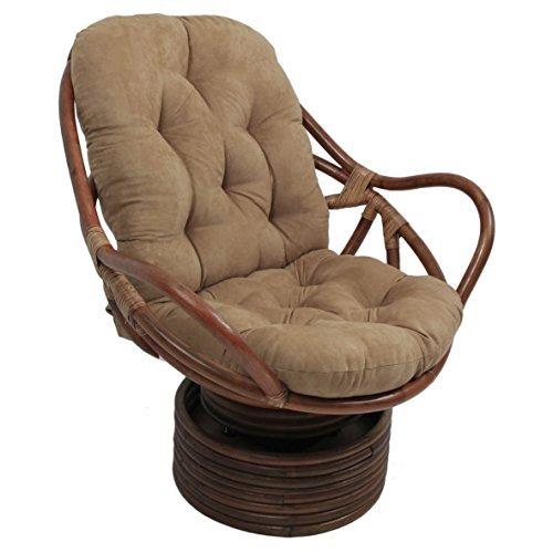 Microsuede Cushion - Blazing Needles Solid Microsuede Swivel Rocker Chair Cushion, 48