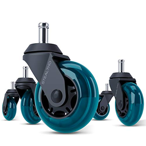 STEALTHO Replacement Office Chair Caster Wheels Set of 5 - Protect Your Floor - Quick & Quiet Rolling Over The Cables - No More Chair Mat Needed - Blue Polyurethane - Standard Stem 7/16