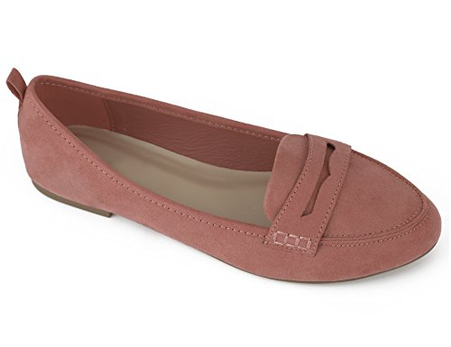Greatonu Women's Faux Suede Comfort Slip-on Penny Loafer Flat Shoes (10 US(Run Small), Coral)