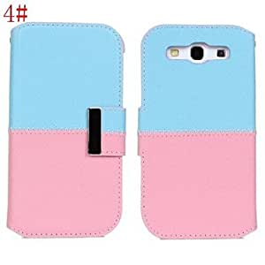 PEACH-Bi-Color PU Leather Full Body Case with Strap and Sticker for Samsung Galaxy S3 I9300