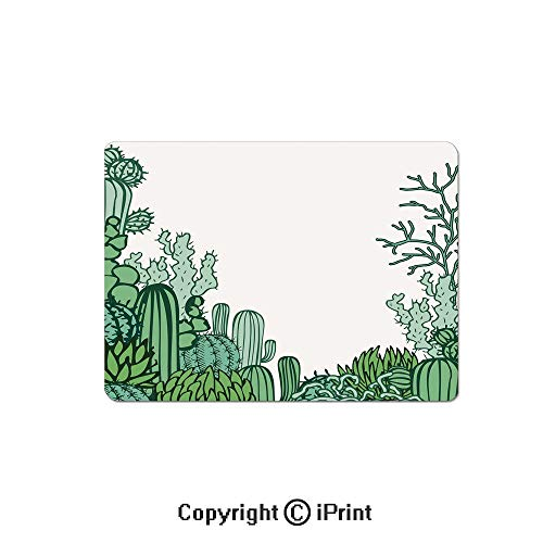 (Gaming Mouse Pads, Arizona Desert Themed Doodle Cactus Staghorn Buckhorn Ocotillo Decorative Non Slip Rubber Mousepad,7.1x8.7 inch,Green Light Green Seafoam)
